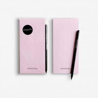 Notizblock notepad love the day with pencil